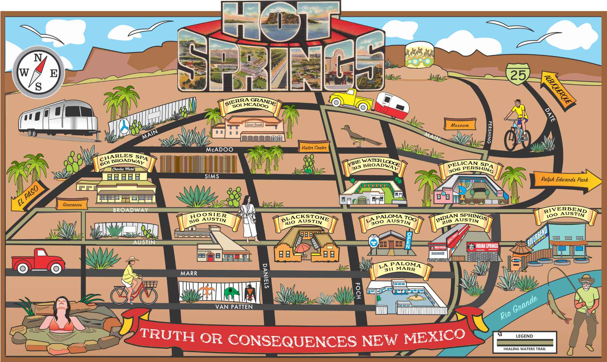 Truth or Consequences formerly Hot Springs New Mexico map of the eleven commercial hot spring spas