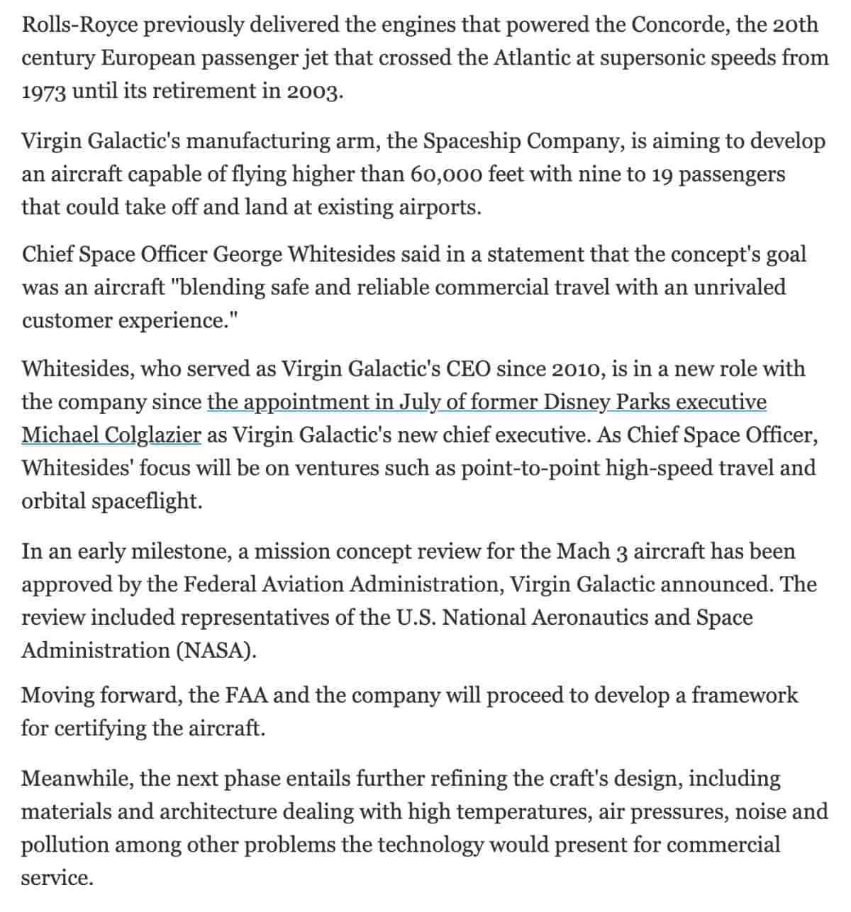 virgin galactic unveils high-speed aircraft design