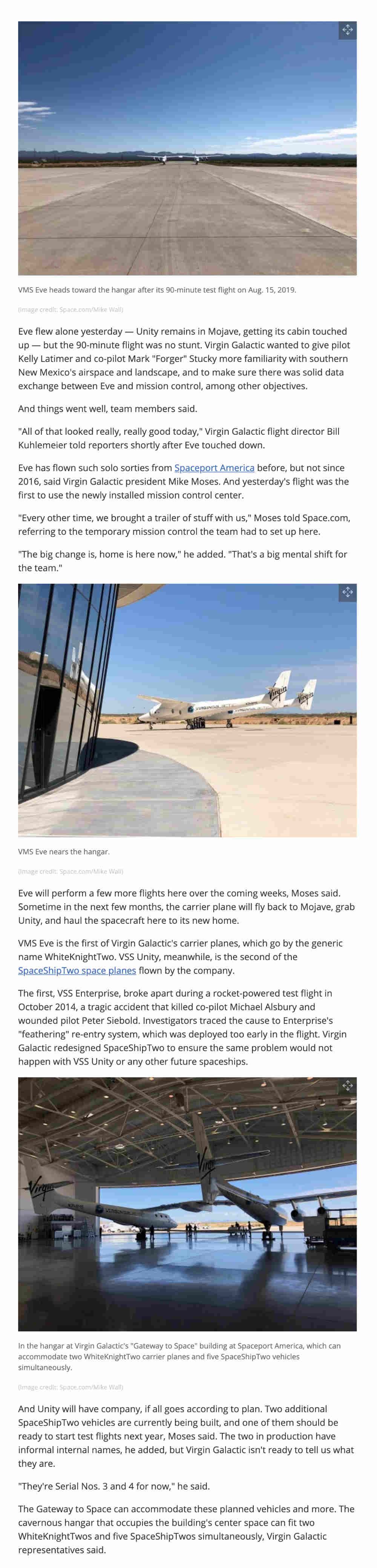 Virgin Galactic flies EVE in New Mexico