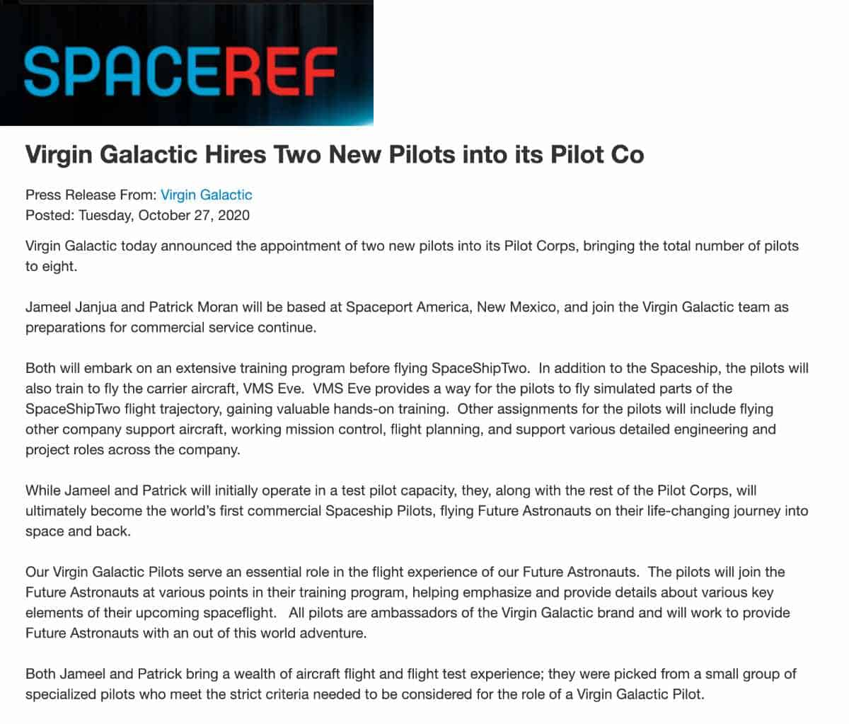 virgin galactic hires two new pilots for its pilot corps