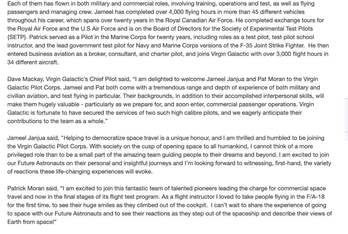 virgin galactic hires two new pilots, Jameel Janjua and Patrick Moran, for its pilot corps